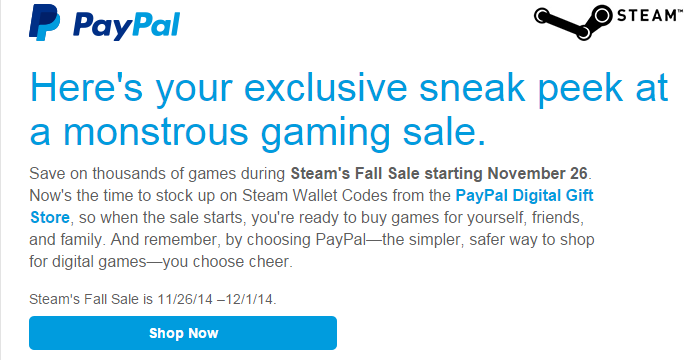 Steam Autumn Sale dates revealed by PayPal